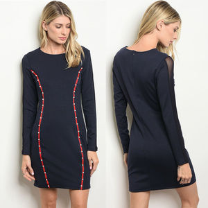 Dresses & Skirts - Navy bodycon dress with pearls & sheer sleeves